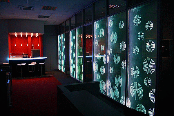 Glaswand licht laser